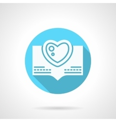 Round blue love greeting flat icon vector image vector image