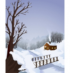 winter landscape with cottage vector image vector image