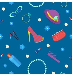 Woman Fashion Seamless Pattern with Cosmetics vector image vector image