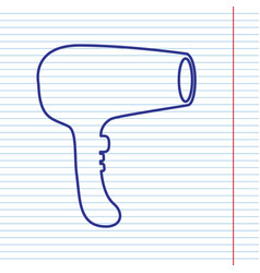 hair dryer sign navy line icon on vector image vector image