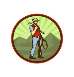 Miner carrying pick axe with mountains vector image vector image