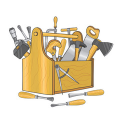 wooden box for carpentry tools hand drawn vector image