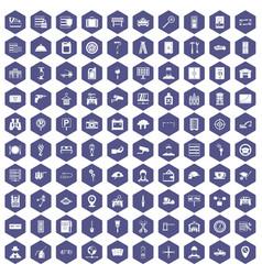 100 keys icons hexagon purple vector
