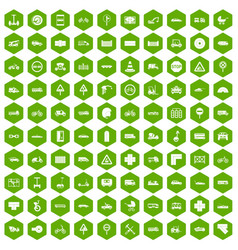 100 road icons hexagon green vector