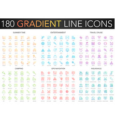 180 trendy gradient thin line icons set of vector image