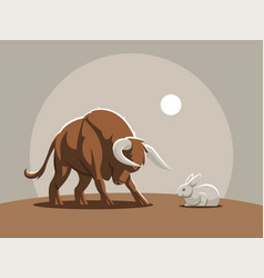 a young bull calf is attacking rabbit vector image