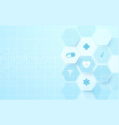 Abstract blue hexagons with science concept vector