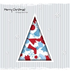 Abstract Christmas card with tree and christmas vector image