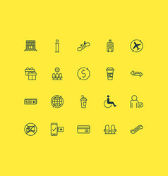 Airport icons set collection of stair lift vector