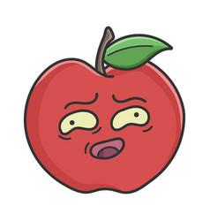awkward smiling red apple cartoon apple vector image