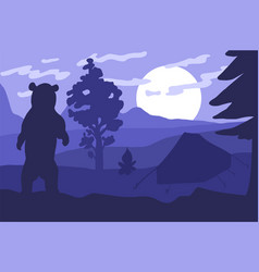 bear in the camping vector image