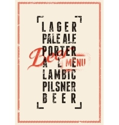 Beer menu design Vintage grunge beer poster vector