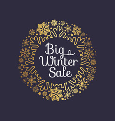 Big winter sale inscription gold ornamental frame vector