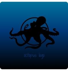 Black octopus on a dark blue background vector image