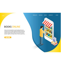 books online landing page website template vector image