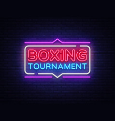 boxing tournament neon sign boxing design vector image