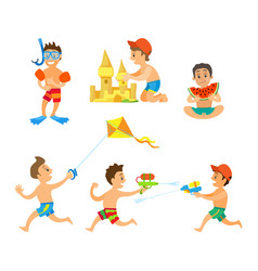 boy playing games summer activity on beach vector image