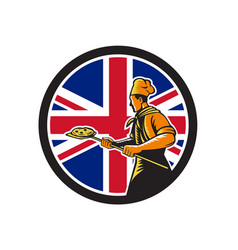 British pizza baker union jack flag icon vector