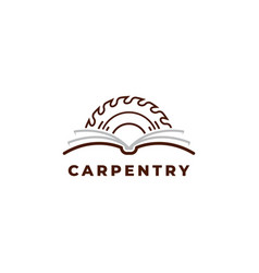 Carpentry book logo design symbol template vector