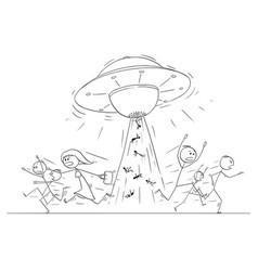 Cartoon drawing of crowd of people running vector