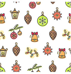 Christmas pattern toys bells vector