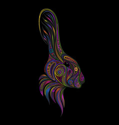 colored rabbit vector image