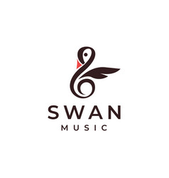 creative swan music logo vector image