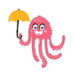 cute cartoon pink octopus character holding vector image