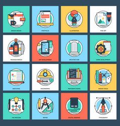 Design and development flat icons vector