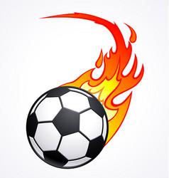 flaming football soccer ball vector image