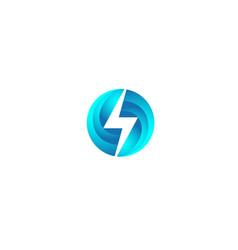 Flash planet blue circle thunder logo design vector