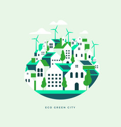 flat geometric buildings eco city landscape vector image