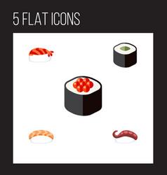 Flat icon sushi set of seafood sashimi salmon vector