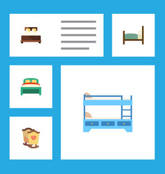 Flat set of crib furniture bunk bed and othe vector