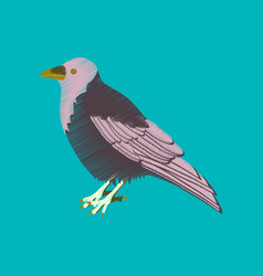 Flat shading style icon raven vector