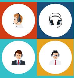 Flat telemarketing set of telemarketing help vector
