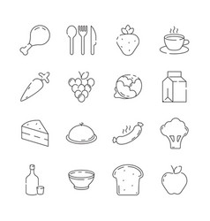 Food icon cuisine products menu and kitchen items vector