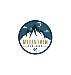 forest mountain at night adventure badge logo vector image