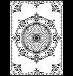 Frame with black ornament on white background vector