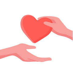 give and take care and help concept with heart and vector image