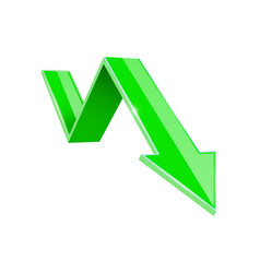 Green 3d down arrow financial graph vector