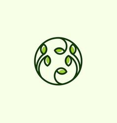 green leaf outline creative logo design vector image