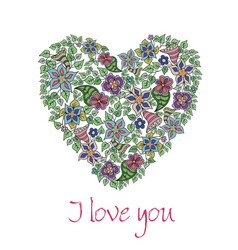 Greeting card with hand-drawn floral heart vector