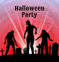 Halloween party on a spooky graveyard vector