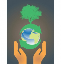 hand holding earth globe 3 vector image