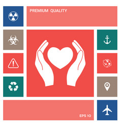 hands holding heart symbol elements for your vector image
