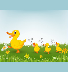 Happy duck cartoon vector