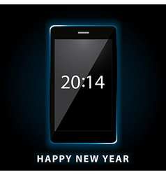 Happy new year phone vector