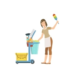 Hotel Professional Maid With Cleaning Equipment vector