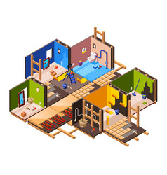 Isometric home renovation repair set vector